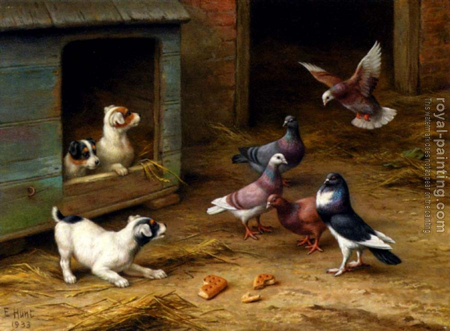 Edgar Hunt : Puppies And Pigeons Playing By A Kennel